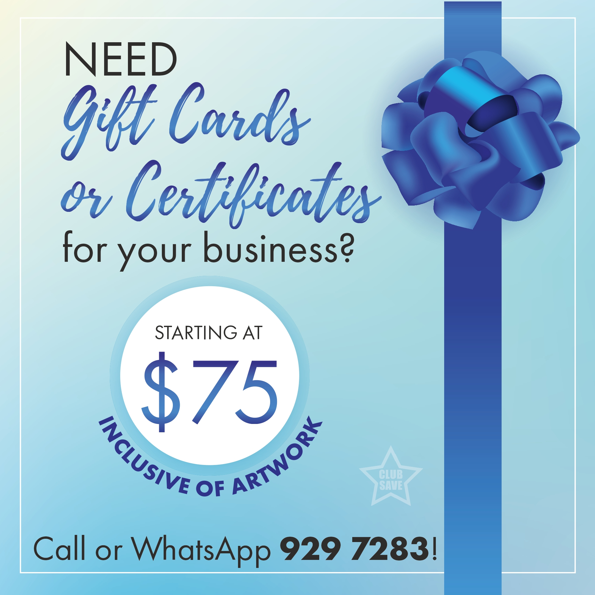 Gift cards and cert